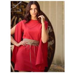 Vestido Manga Flare Vermelho Lú Pessanha