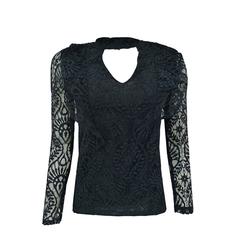 Camisa Renda com Decote Preto Esmeral