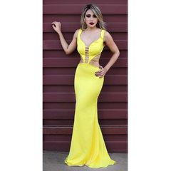 Vestido Longo Sereia Detalhe Tiras Amarelo Anne Fernandes