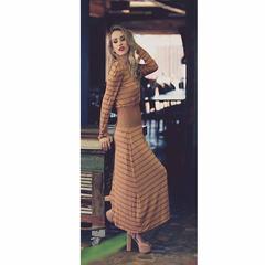 Vestido Listras Cinturado Marrom Tufi Duek