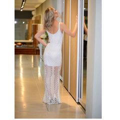 Vestido Longo Tricot Lurex Branco Esmeral