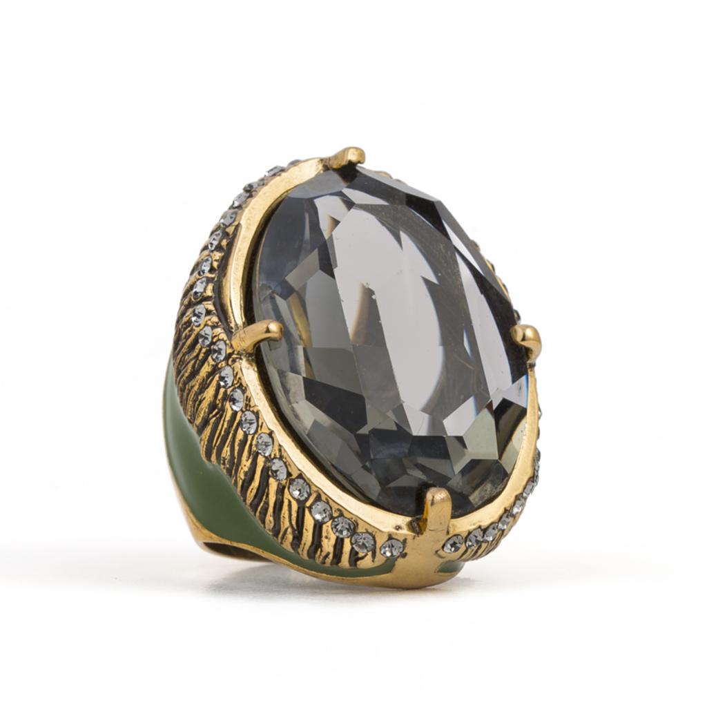 Anel com Pedra Resina Ouro Velho 20 Camila Klein