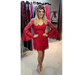 Vestido Ingrid Guipir Vermelho Heaven