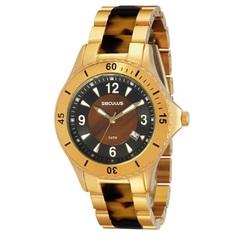 Relógio Feminino Analógico Dourado e Marrom modelo Moda - Séculus