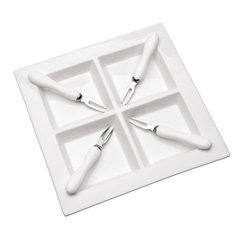 Petisqueira Quadrada de Porcelana 22,5x22,5cm com 4 Divisórias e 4 Garfinhos - Wolff - 1156