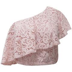 Blusa Cropped um Ombro com Renda Rosa Esmeral