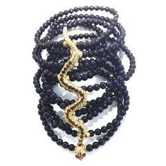 Pulseira Preta e Cobra Dourada modelo Movimento de Cobra - Gio Bernardes