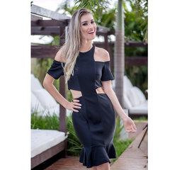 Vestido com Abertura Lateral Preto Anne Fernandes