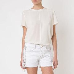 Short Jeans com Amarração Branco Amapô