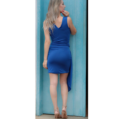 Vestido Assimétrico Detalhes Azul Nathi Faria