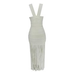 Vestido Longo Bandagem com Franjas Off White Faven