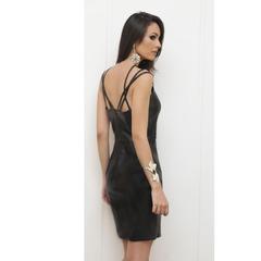 Vestido Couro Eco com Tiras Preto Anne Fernandes