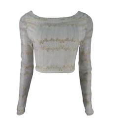 Blusa Cropped Rendado Branco Plataforma Vogue