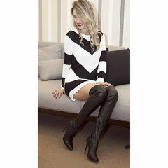 Vestido Tricot Listrado Preto e Branco Lafê