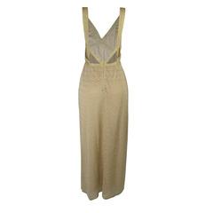 Vestido Longo com Decote V Dourado Faven