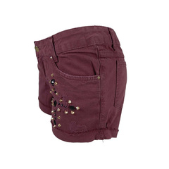Short Jeans Vinho Com Cruz Bordado Plataforma Vogue