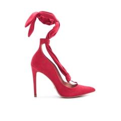 Scarpin Camurça Vermelho com Amarração Cecconello