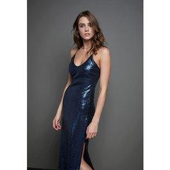 Vestido Midi em Paetê om Recorte Azul Iorane