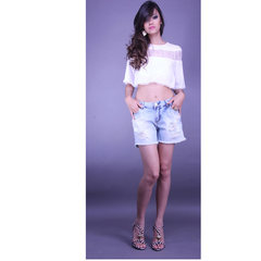 Blusa Cropped Renda Off White Litt'