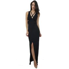 Vestido Longo Decote em V Detalhe Trançado Preto Iorane