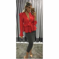 Blusa Crepe com Babados Vermelho Esmeral