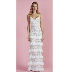 Vestido Longo Renda Camadas Off White Esmeral