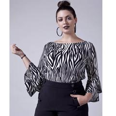 Blusa com Estampa de Zebra Esmeral Extra