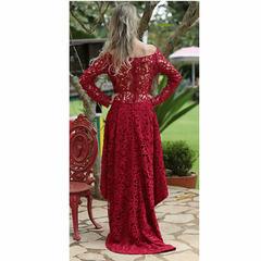Vestido Longo Sereia Detalhe em Guipir com Abertura Frontal Vermelho Anne Fernandes
