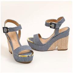 Sandália Plataforma Jeans Azul Suzana Santos