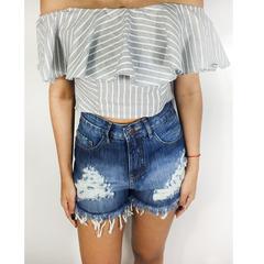 Blusa Cropped Listrada Cinza Tricia Modas