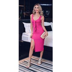 Vestido Midi com Amarração Pink Zen
