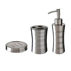 Conjunto para Banheiro com 3 Peças em Aço Inox - Mor - 8473