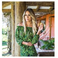 Blusa Cropped Folhagem Verde N.N Moda