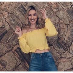 Blusa Cropped Ciganinha Amarelo Litt'