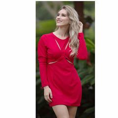 Vestido Recorte Frontal Vermelho N.N Moda