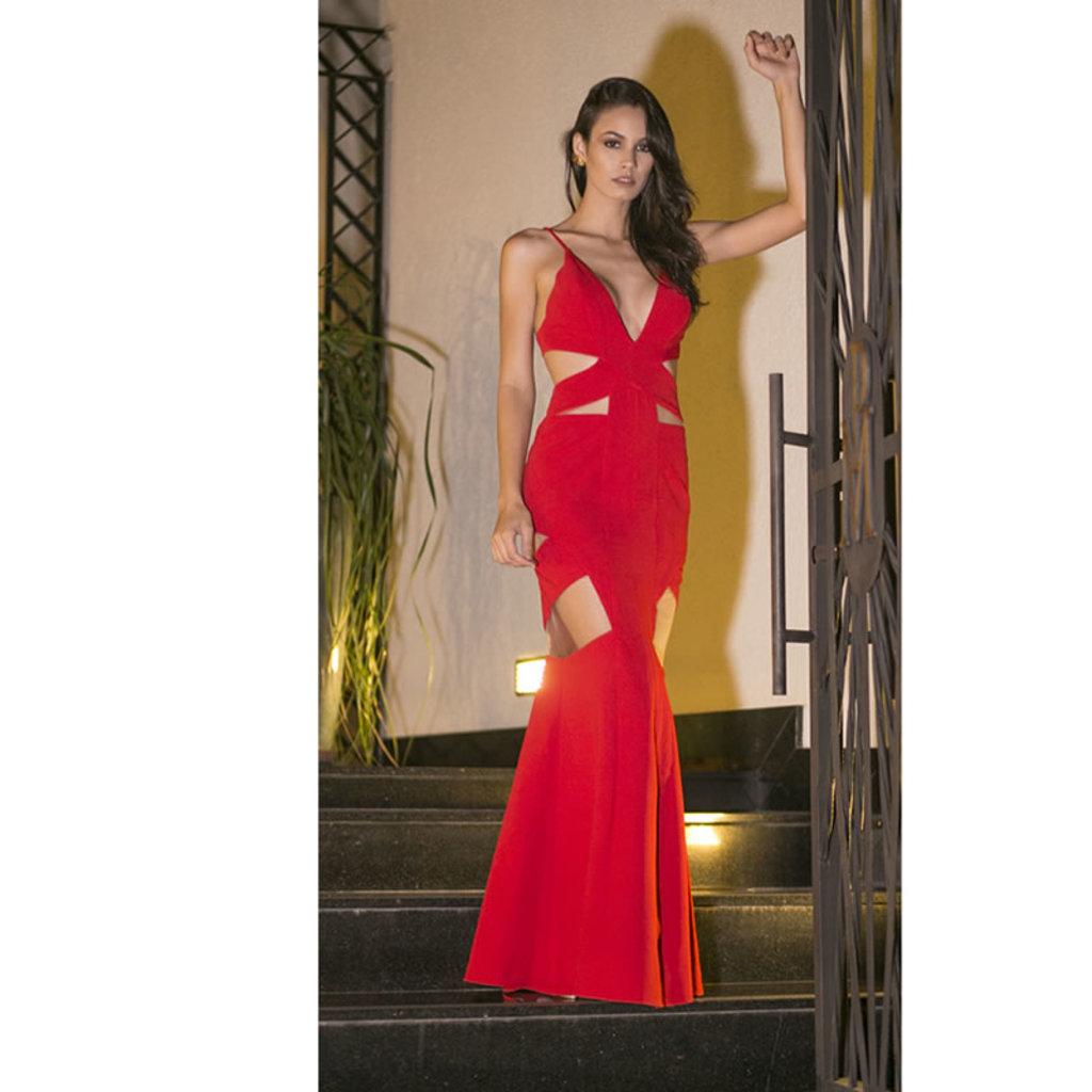 Vestido Longo Decote Vazado Vermelho Skazi